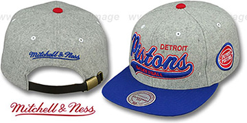 Pistons 2T TAILSWEEPER STRAPBACK Grey-Royal Hat by Mitchell & Ness