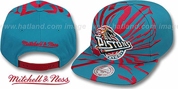 Pistons 'EARTHQUAKE SNAPBACK' Turquoise Hat by Mitchell and Ness