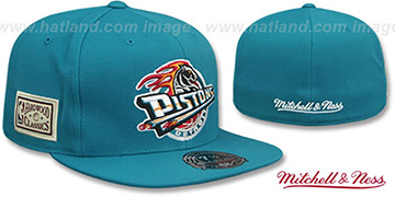 Pistons HWC SIDE-PATCH Teal Fitted Hat by Mitchell and Ness