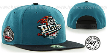 Pistons 'SURE-SHOT SNAPBACK' Teal-Black Hat by Twins 47 Brand