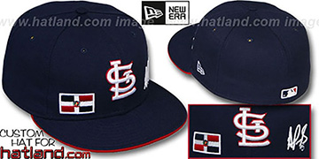 Pujols TRIPLE THREAT Navy Fitted Hat by New Era