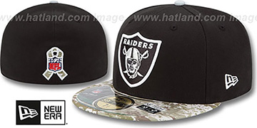 Raiders '2014 SALUTE-TO-SERVICE' Black-Desert Fitted Hat by New Era