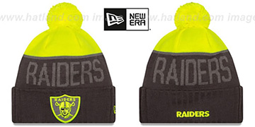 Raiders '2015 STADIUM' Charcoal-Yellow Knit Beanie Hat by New Era