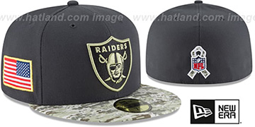 Raiders '2016 SALUTE-TO-SERVICE' Grey-Desert Fitted Hat by New Era