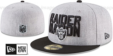 Raiders '2018 ONSTAGE' Grey-Black Fitted Hat by New Era