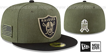 Raiders 2018 SALUTE-TO-SERVICE Olive-Black Fitted Hat by New Era