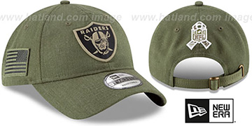 Raiders 2018 SALUTE-TO-SERVICE STRAPBACK Olive Hat by New Era