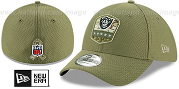 Raiders 2019 SALUTE-TO-SERVICE FLEX Olive Hat by New Era