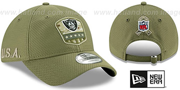 Raiders 2019 SALUTE-TO-SERVICE STRAPBACK Olive Hat by New Era