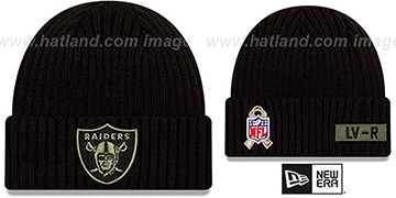 Raiders 2020 SALUTE-TO-SERVICE Black Knit Beanie Hat by New Era