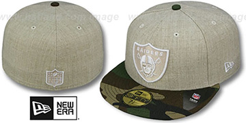 Raiders '2T-HEATHER' Oatmeal-Army Fitted Hat by New Era