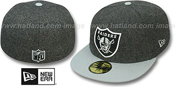 Raiders '2T NFL MELTON-BASIC' Grey-Grey Fitted Hat by New Era