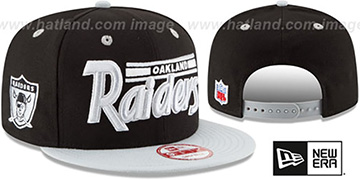 Raiders '2T RETRO-SCRIPT SNAPBACK' Black-Grey Hat by New Era