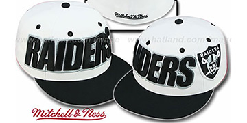 Raiders '2T WORDMARK' White-Black Fitted Hat by Mitchell & Ness