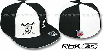 Raiders 'AFC THROWBACK DOUBLE LOGO' White-Black Fitted Hat by Reebok