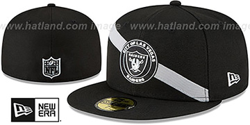 Raiders 'ANGLED STRIPE' Black Fitted Hat by New Era