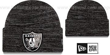 Raiders 'BEVEL' Black-Grey Knit Beanie Hat by New Era