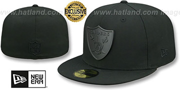 Raiders 'BLACK METAL-BADGE' Black Fitted Hat by New Era