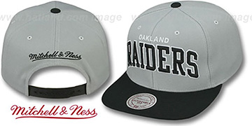 Raiders 'BLOCK-ARCH SNAPBACK' Grey-Black Hat by Mitchell & Ness