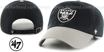 Raiders 'CLEAN-UP STRAPBACK' Black-Grey Hat by Twins 47 Brand