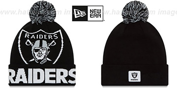 Raiders 'COLOSSAL-TEAM' Black Knit Beanie Hat by New Era