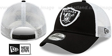 Raiders FRAYED LOGO TRUCKER SNAPBACK Hat by New Era