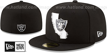 Raiders SILVER STATED METAL-BADGE Black Fitted Hat by New Era