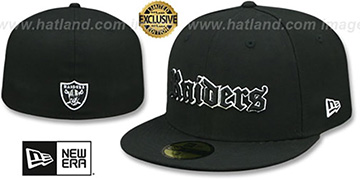 Raiders 'GOTHIC TEAM-BASIC' Black Fitted Hat by New Era