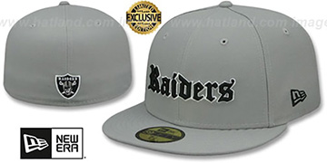 Raiders GOTHIC TEAM-BASIC Light Grey Fitted Hat by New Era