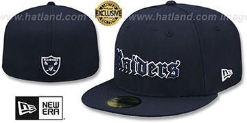 Raiders GOTHIC TEAM-BASIC Navy Fitted Hat by New Era
