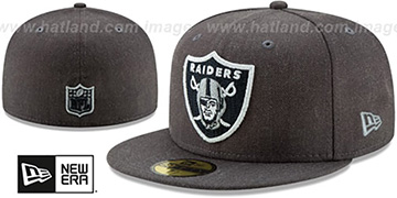 Raiders HEATHER-CRISP Black Fitted Hat by New Era