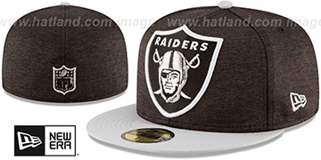 Raiders HEATHER-HUGE Black-Grey Fitted Hat by New Era