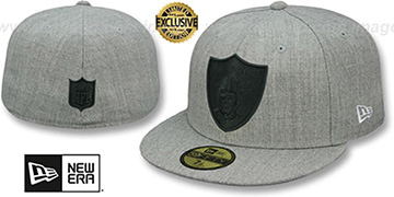 Raiders HEATHER-POP Light Grey Fitted Hat by New Era