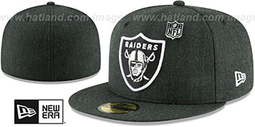Raiders 'HEATHERED-PIN' Black Fitted Hat by New Era