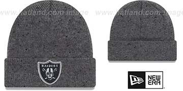 Raiders HEATHERED-SPEC Grey Knit Beanie Hat by New Era
