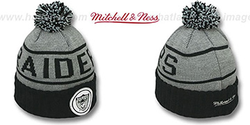 Raiders 'HIGH-5 CIRCLE BEANIE' Grey-Black by Mitchell and Ness