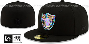 Raiders IRIDESCENT COLOR-SHIFT Black Fitted Hat by New Era