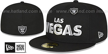 Raiders LAS VEGAS BLOCK-PIN Black Fitted Hat by New Era