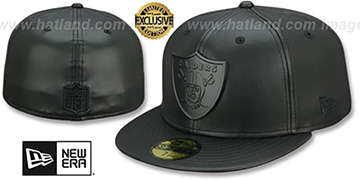 Raiders LEATHER BLACK METAL-BADGE Black Fitted Hat by New Era