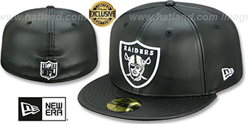 Raiders 'LEATHER NFL TEAM-BASIC' Black Fitted Hat by New Era