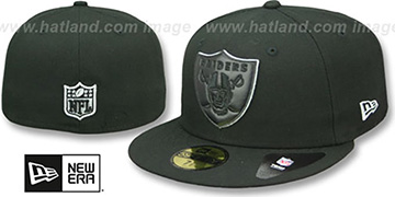 Raiders LEATHER POP Black Fitted Hat by New Era