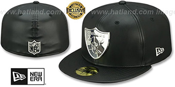Raiders LEATHER SILVER METAL-BADGE Black Fitted Hat by New Era