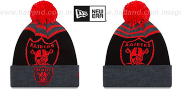 Raiders 'LOGO WHIZ' Black-Charcoal-Red Knit Beanie Hat by New Era