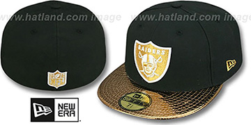Raiders 'METALLIC SLITHER' Black-Gold Fitted Hat by New Era