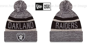 Raiders 'METALLIC STRIPE' Grey-Black Knit Beanie Hat by New Era