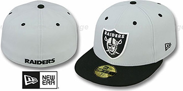 Raiders 'NFL 2T-TEAM-BASIC' Grey-Black Fitted Hat by New Era