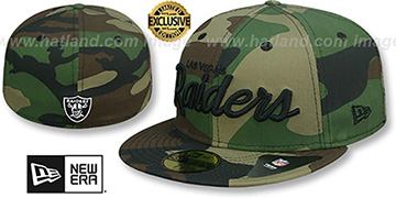 Raiders 'NFL TEAM-SCRIPT' Army Camo Fitted Hat by New Era