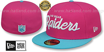 Raiders MIAMI VICE SCRIPT Beetroot-Blue Fitted Hat by New Era