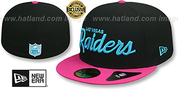 Raiders 'MIAMI VICE SCRIPT' Black-Beetroot Fitted Hat by New Era