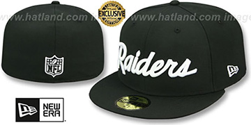 Raiders NFL TEAM-SCRIPT Black Fitted Hat by New Era